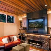 暖色调电视墙效果图