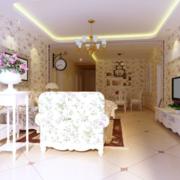 粉色调客厅效果图片
