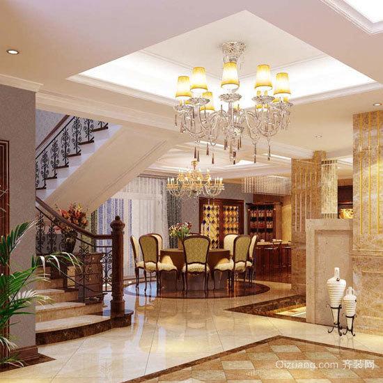别墅欧式客厅实木楼梯装修效果图