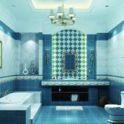 地中海风格卫生间蓝色系吊顶装饰