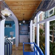 地中海简约阳台原木吊顶装饰
