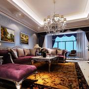 别墅法式风格矩形客厅吊顶装饰