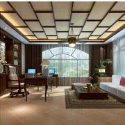 东南亚书房原木深色桌椅装饰