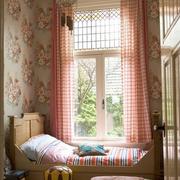美式清新印花卧室粉色系飘窗装饰