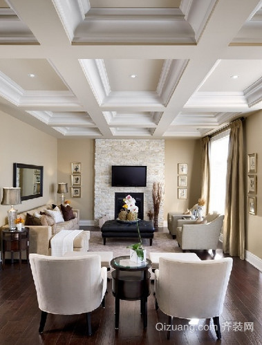 客厅石膏线吊顶装修效果图