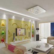 复式楼现代简约风格浅黄色电视墙