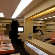 日式简约风格原木餐馆置物架装饰