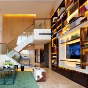 复式楼简约整体式电视柜设计