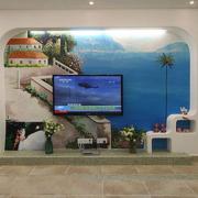 地中海客厅电视墙浅色系