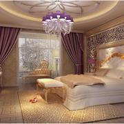 巴洛克卧室紫色系背景墙装饰