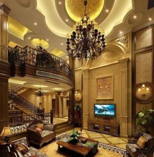 欧式两层复式楼客厅装修效果图