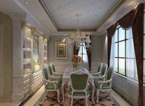 大户型浪漫典雅法式餐厅吊顶背景墙装修效果图
