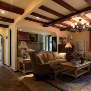 美式简约风格原木客厅吊顶装饰