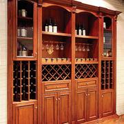 美式原木深色酒柜效果图