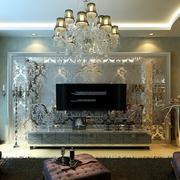 法式简约风格精致客厅电视墙装饰