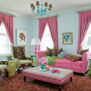 韩式清新粉色系沙发装饰