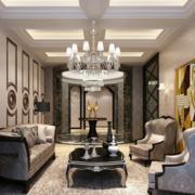 欧式风格浅色客厅石膏板吊顶装饰