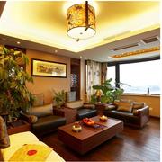 中式风格别墅客厅窗帘装饰