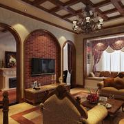 美式简约风格拱形电视背景墙装饰