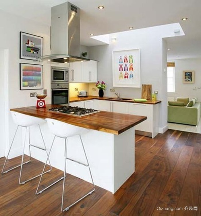 清新淡雅开放式厨房装修效果图