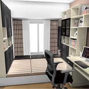 小户型简约风格整体式榻榻米书柜装饰