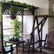 美式风格原木清新阳台吊椅装饰