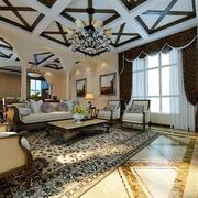 美式风格客厅深色系窗帘装饰