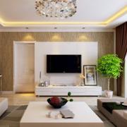 客厅简约风格白色系背景墙装饰