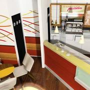 咖啡店吊顶背景墙清新色款