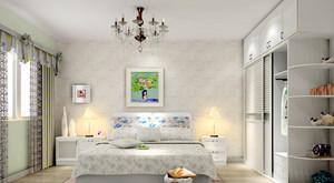 两居室清新淡雅田园风格卧室背景墙设计装修效果图