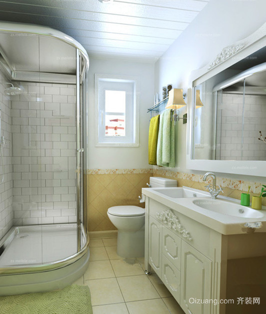 110㎡浪漫法式风格卫生间设计装修效果图