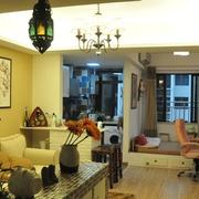 两室一厅混搭客厅背景墙装饰