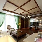 东南亚复式楼客厅吊顶装饰