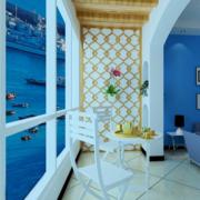 地中海阳台原木隔断背景墙装饰