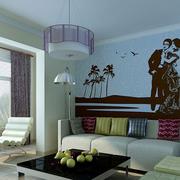 混搭色现代客厅硅藻泥吊顶