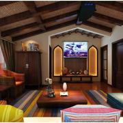 大型别墅客厅原木色吊顶装饰