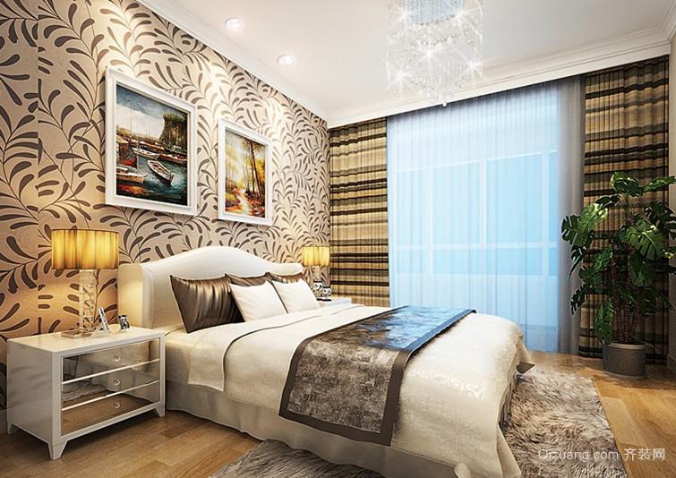 100㎡时尚现代风格卧室背景墙设计装修效果图