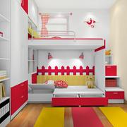 简约红白色小清新儿童床