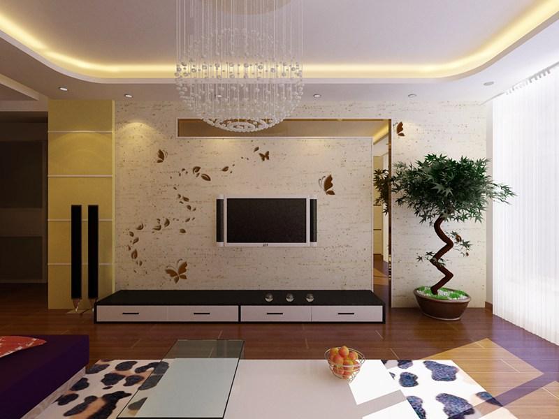 欧式 客厅硅藻泥 电视背景墙 装修 效果图