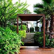 屋顶花园简约风格原木材料装饰