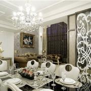 欧式奢华风格餐厅花纹背景墙装饰