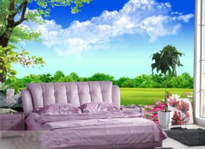 现代简约3D卧室墙饰效果图