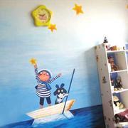 地中海清新风格儿童房背景墙装饰