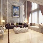 复式楼简约风格大型客厅飘窗装饰