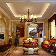 独栋别墅奢华欧式客厅吊顶装饰