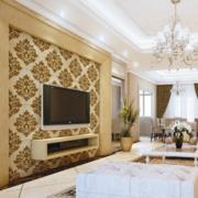 欧式风格深色带花纹电视背景墙装饰