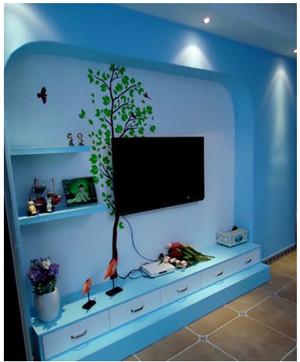 地中海客厅电视墙背景效果图