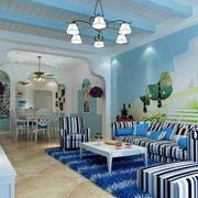地中海客厅原木石膏板吊顶装饰