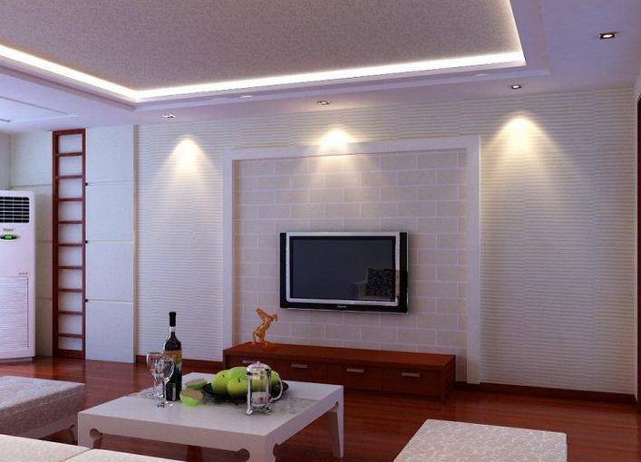 欧式 客厅硅藻泥电视背景墙装修 效果图