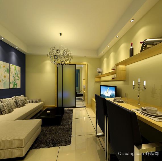 两室一厅现代简约风格单身公寓装修效果图